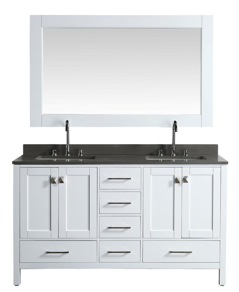 "Design Element London 61"" Vanity in White with Quartz Vanity Top in Gray with White Basin and Mirror"