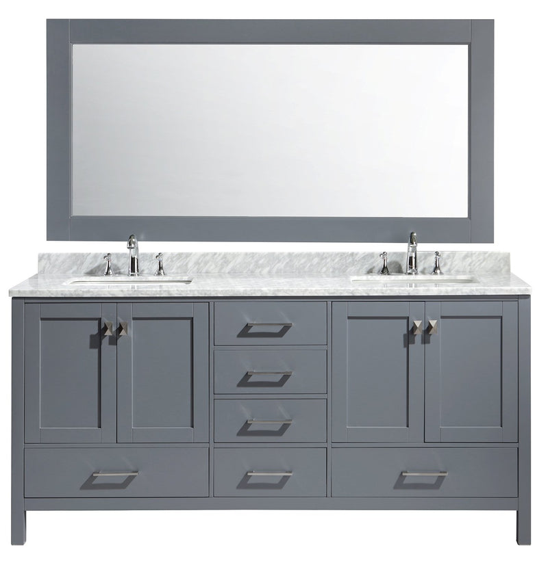"Design Element London 72"" Double Sink Vanity Set in Gray Finish"