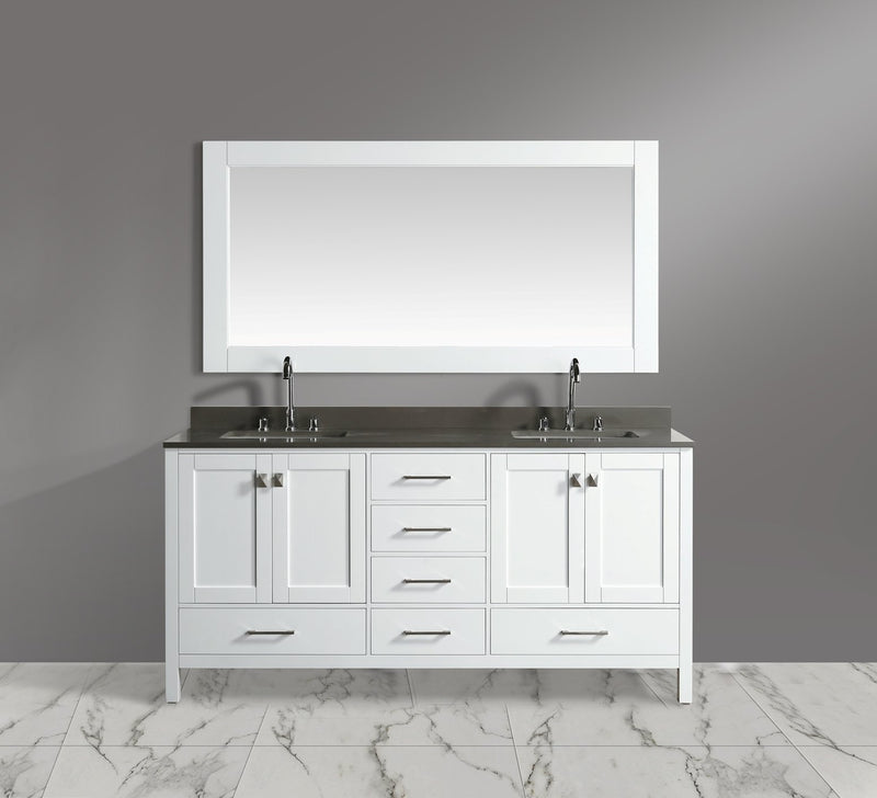 "Design Element London 72"" Double Sink Vanity Set in White Finish"
