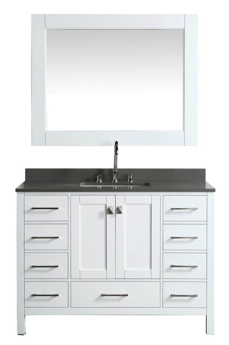 "Design Element London 48"" Vanity in White with Quartz Vanity Top in Gray with White Basin and Mirror"
