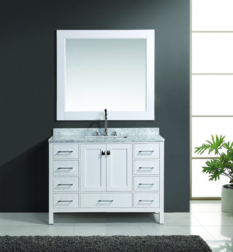 "Design Element London 48"" Single Sink Vanity Set in White Finish"