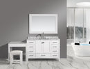 "Design Element London 48"" Single Sink Vanity Set in White Finish with One Make-up table in White Finish"