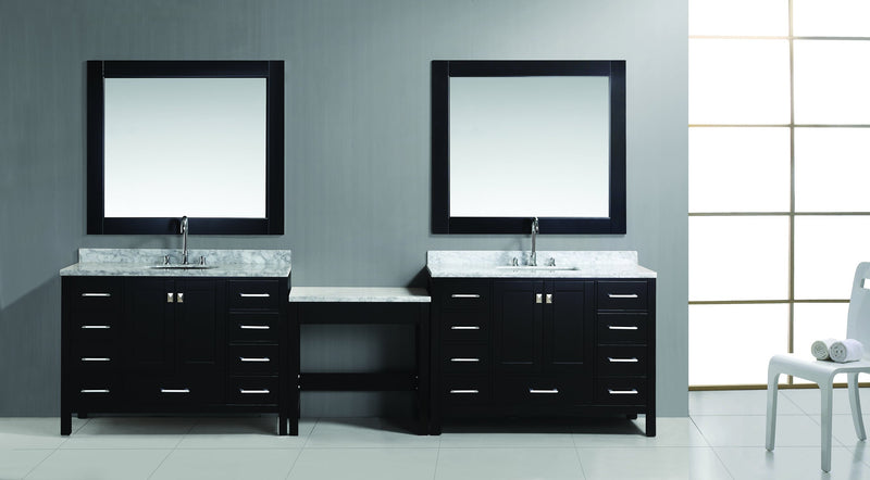 "Design Element Two London 48"" Single Sink Vanity Set in Espresso Finish with One Make-up table in Espresso"