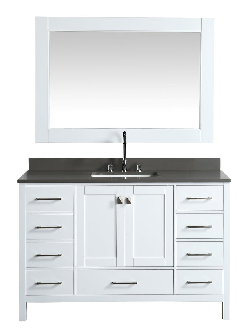 "Design Element London 54"" Vanity in White with Quartz Vanity Top in Gray with White Basin and Mirror"