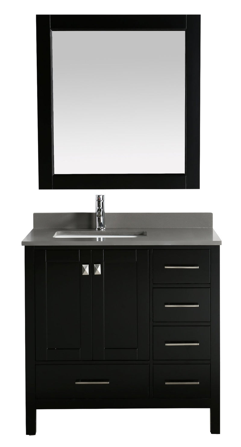 "Design Element London 36"" Vanity in Espresso with Quartz Vanity Top in Gray with White Basin and Mirror"