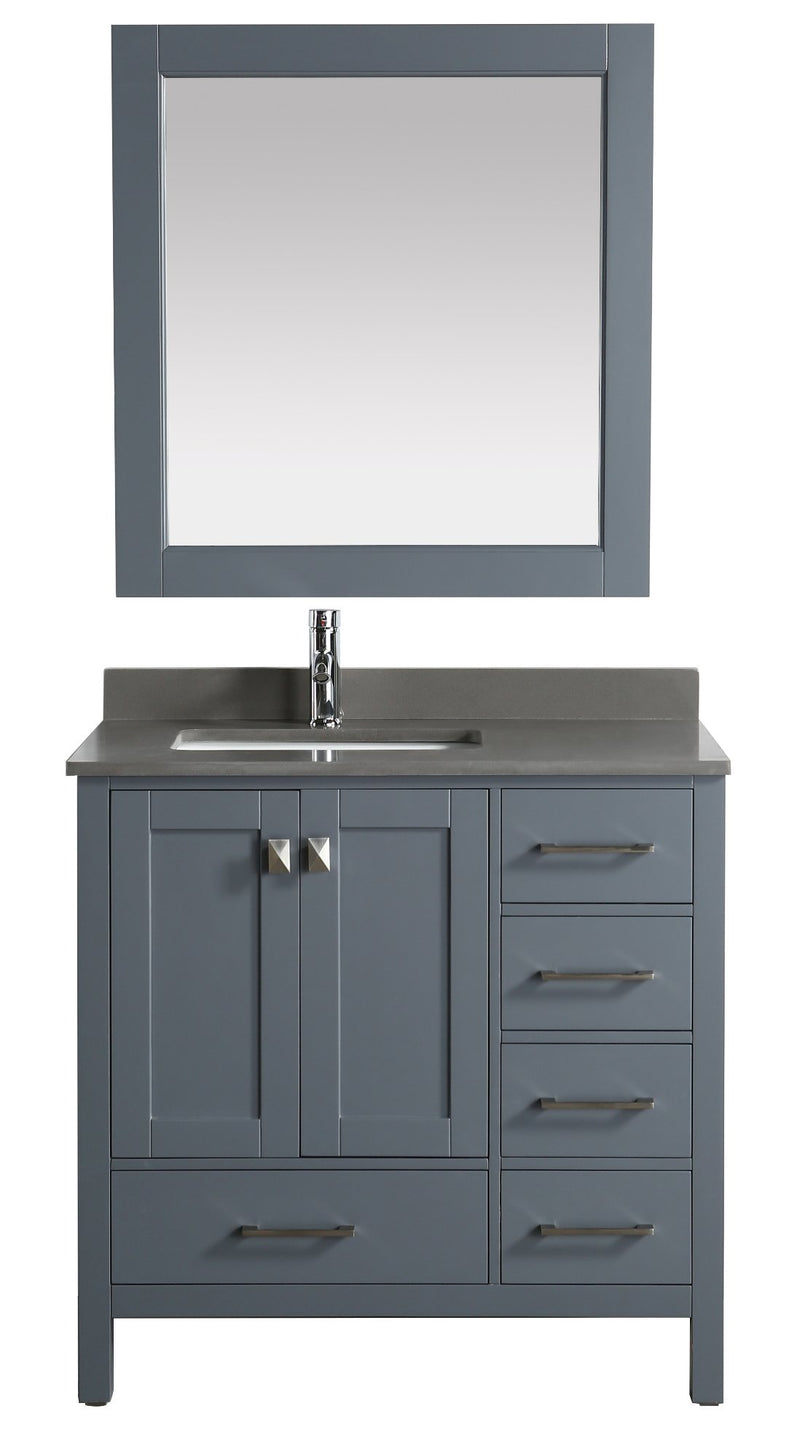 "Design Element London 36"" Vanity in Gray with Quartz Vanity Top in Gray with White Basin and Mirror"