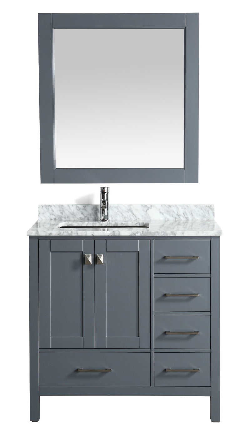 "Design Element London 36"" Vanity in Gray with Marble Vanity Top in Carrera White with White Basin and Mirror"