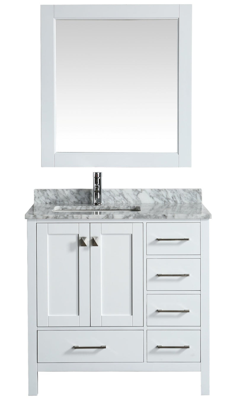 "Design Element London 36"" Vanity in White with Marble Vanity Top in Carrera White with White Basin and Mirror"