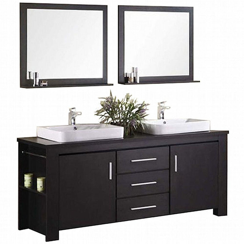 "Design Element Washington 72"" Double Sink Vanity Set in Espresso"