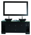 "Design Element Oasis 60"" Double Sink Vanity Set in Espresso with Mirror"