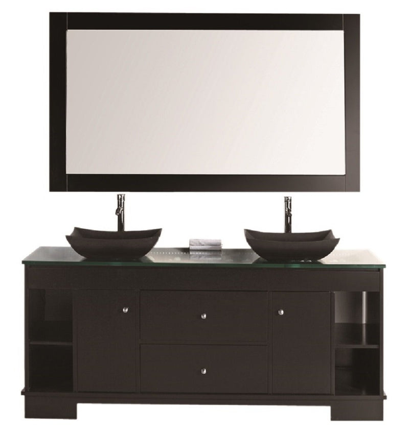 "Design Element Oasis 72"" Double Sink Vanity Set with Decorative Drawer in Espresso"