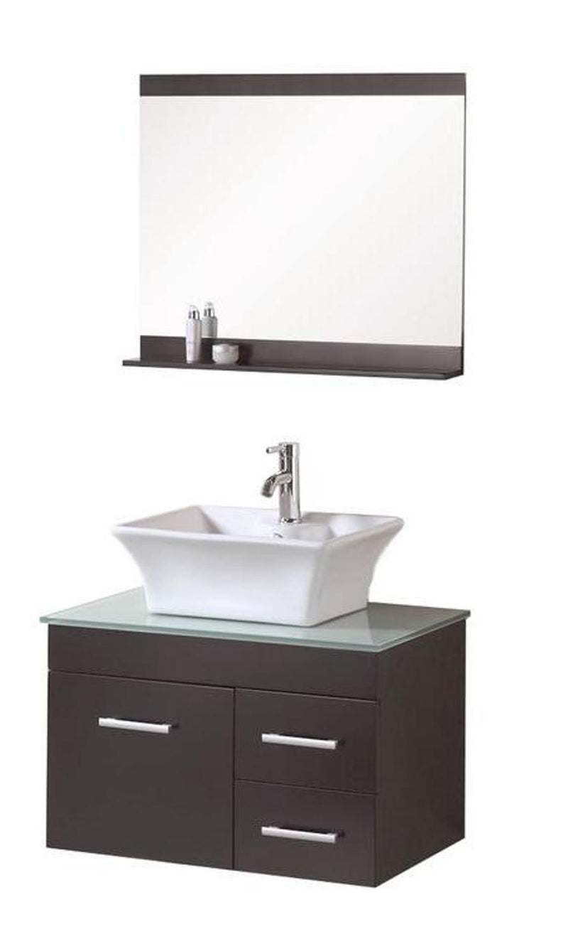 "Design Element Madrid 30"" Single Sink - Wall Mount Vanity Set in Espresso"
