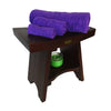 "DecoTeak Serenity 18"" Eastern Style Teak Shower Bench Stool With Shelf"