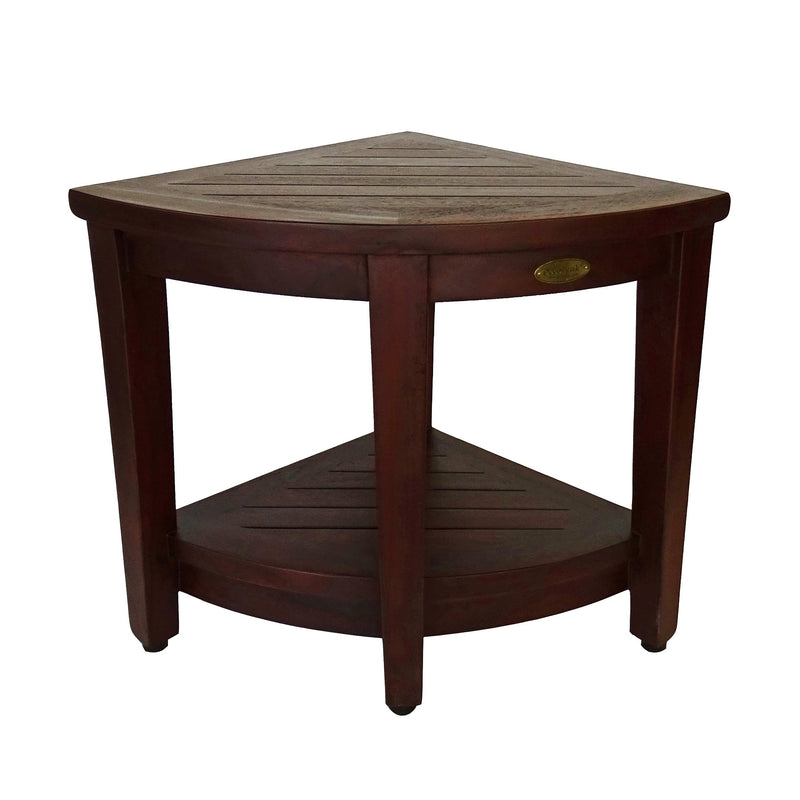 DecoTeak Oasis Teak Corner Shower Bench With Shelf 18""