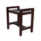 "DecoTeak Eleganto 20"" Ergonomic Teak Shower Stool With LiftAid Arms"