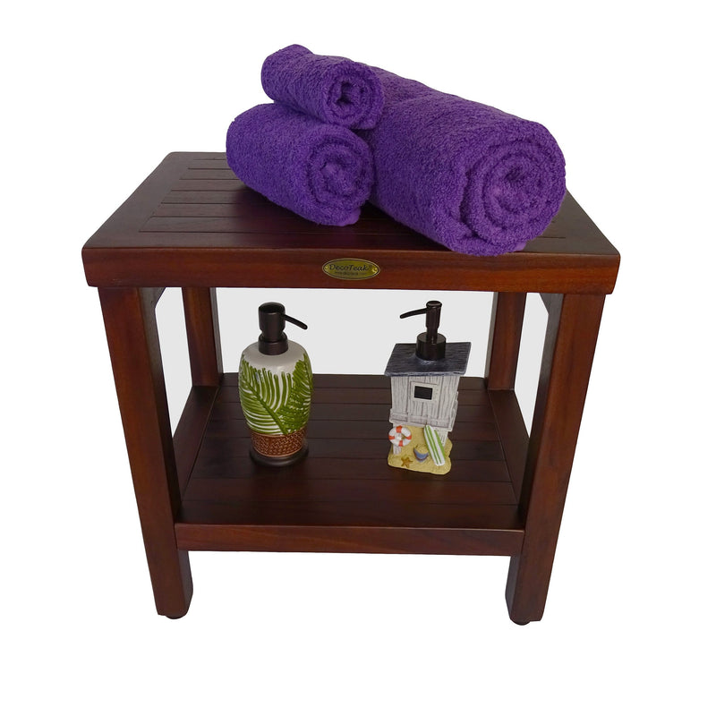 "DecoTeak Eleganto 18"" Teak Shower Bench With Shelf"