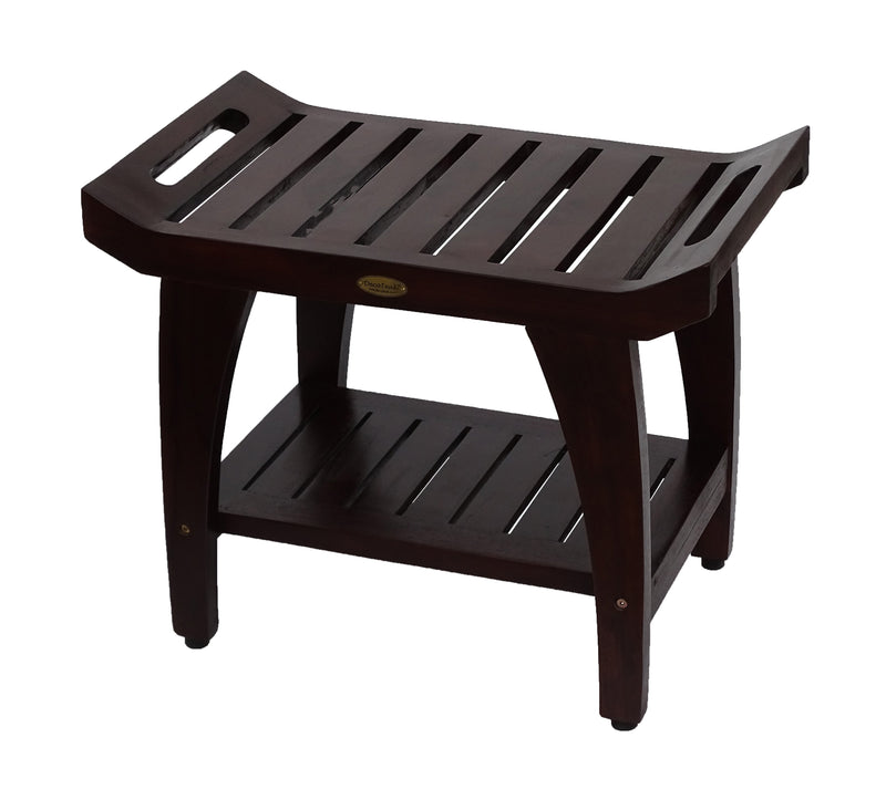 "DecoTeak Tranquility 24"" Teak Eastern Style Shower Bench With Shelf"