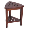 DecoTeak Oasis Compact Teak Corner Shower Bench With Shelf 18""