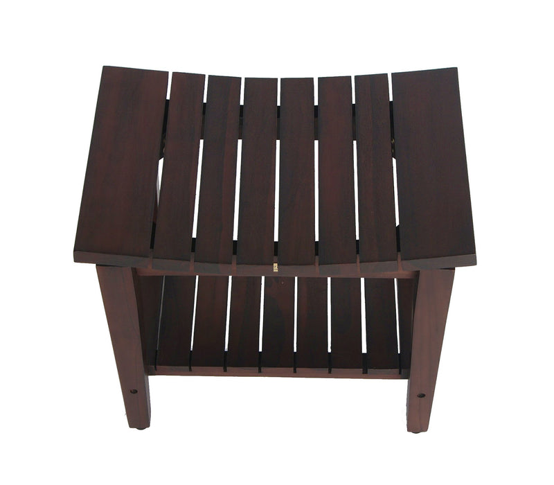 "DecoTeak Sojourn 20"" Contemporary Teak Shower Bench With Shelf"