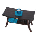 "DecoTeak Satori 28"" Eastern Style Teak Shower Bench With Shelf"