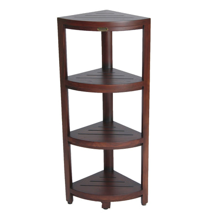 DecoTeak Oasis 4-Tier Teak Corner Shelf 38