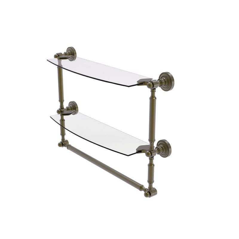 Allied Brass Dottingham Collection 18 Inch Two Tiered Glass Shelf with Integrated Towel Bar DT-34TB-18-ABR