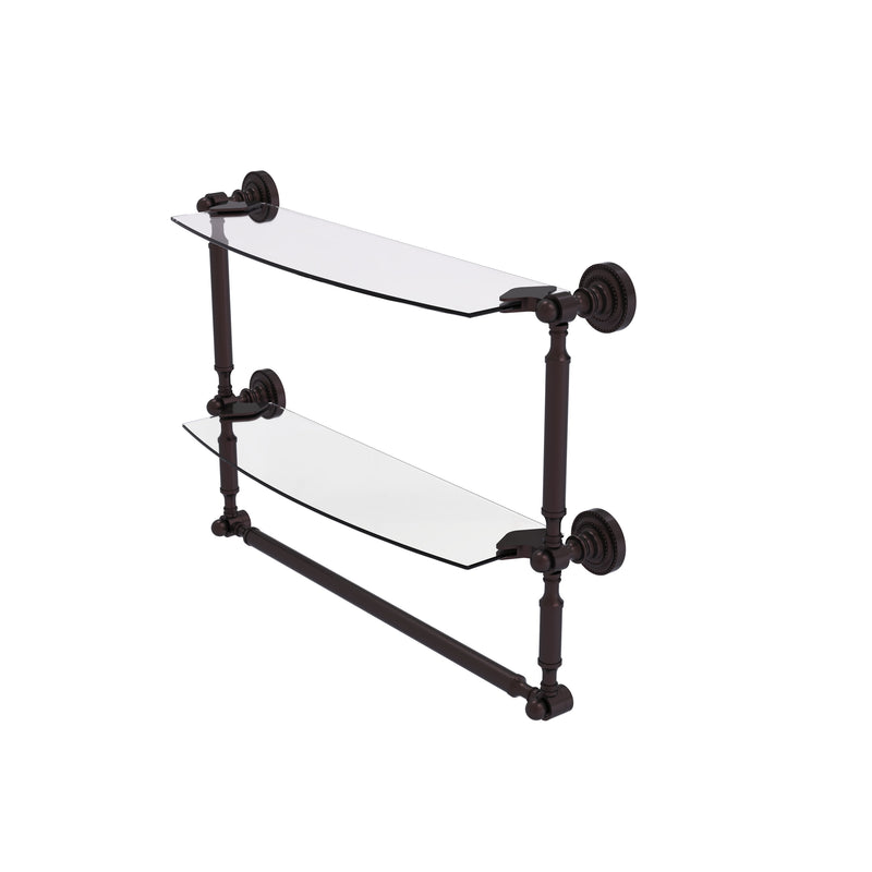 Allied Brass Dottingham Collection 18 Inch Two Tiered Glass Shelf with Integrated Towel Bar DT-34TB-18-ABZ