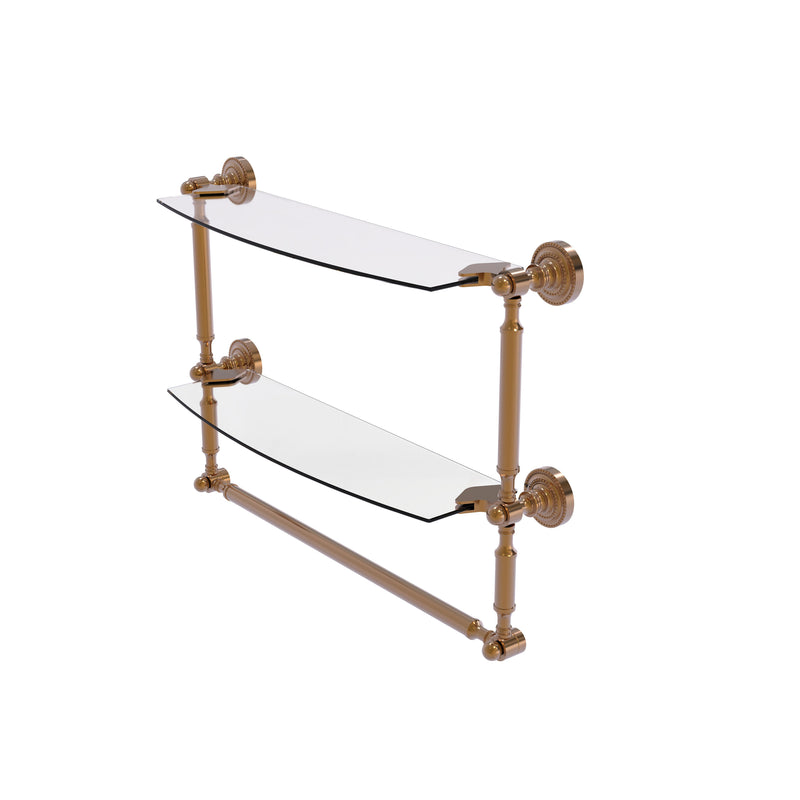 Allied Brass Dottingham Collection 18 Inch Two Tiered Glass Shelf with Integrated Towel Bar DT-34TB-18-BBR