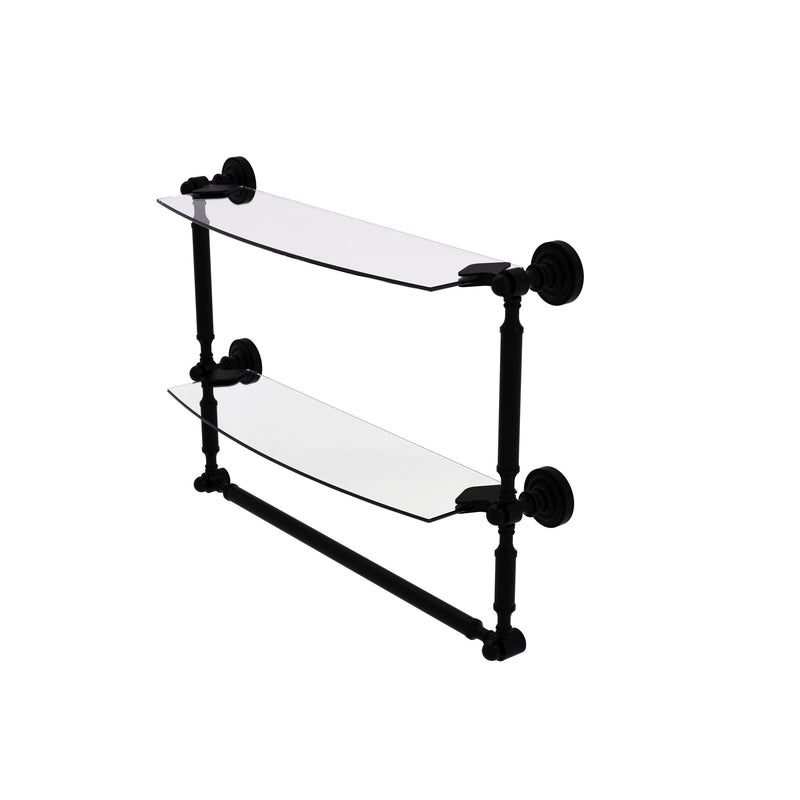 Allied Brass Dottingham Collection 18 Inch Two Tiered Glass Shelf with Integrated Towel Bar DT-34TB-18-BKM