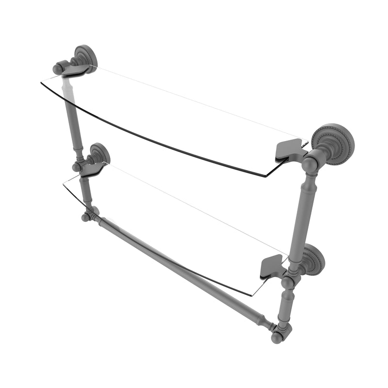 Allied Brass Dottingham Collection 18 Inch Two Tiered Glass Shelf with Integrated Towel Bar DT-34TB-18-GYM