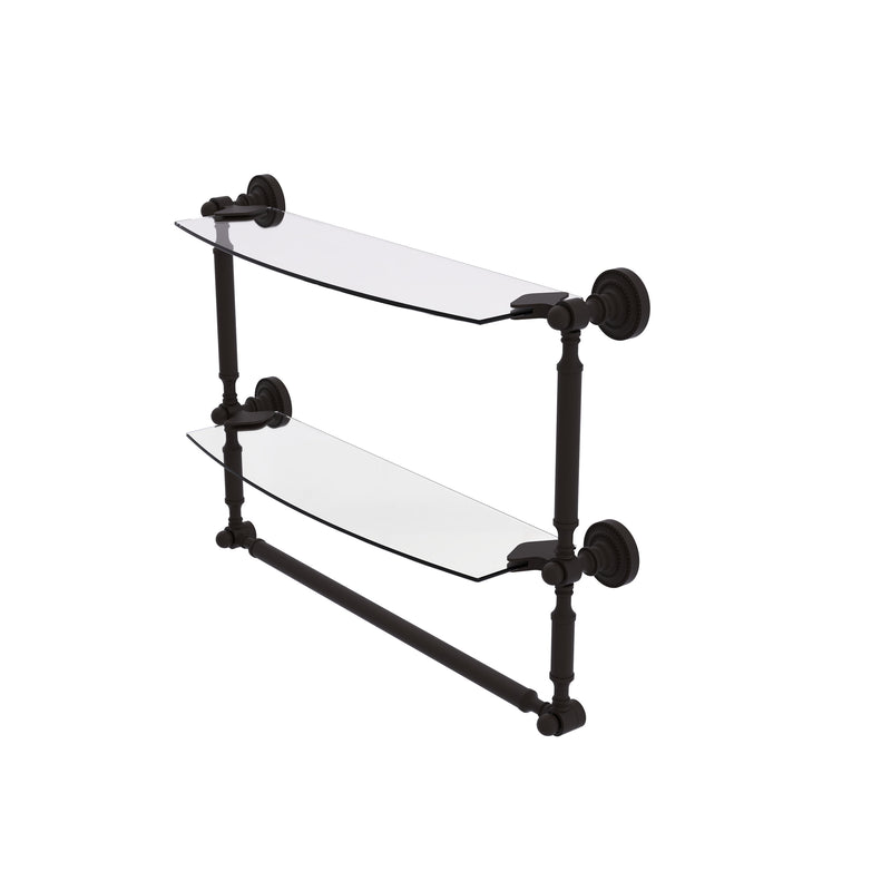 Allied Brass Dottingham Collection 18 Inch Two Tiered Glass Shelf with Integrated Towel Bar DT-34TB-18-ORB