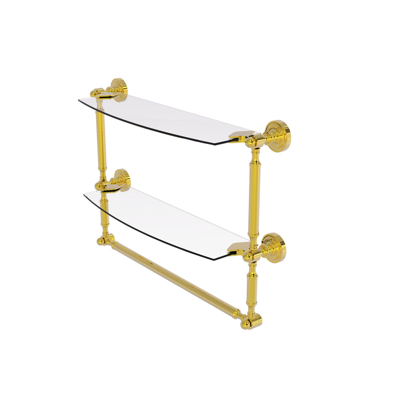 Allied Brass Dottingham Collection 18 Inch Two Tiered Glass Shelf with Integrated Towel Bar DT-34TB-18-PB