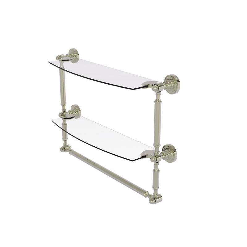 Allied Brass Dottingham Collection 18 Inch Two Tiered Glass Shelf with Integrated Towel Bar DT-34TB-18-PNI