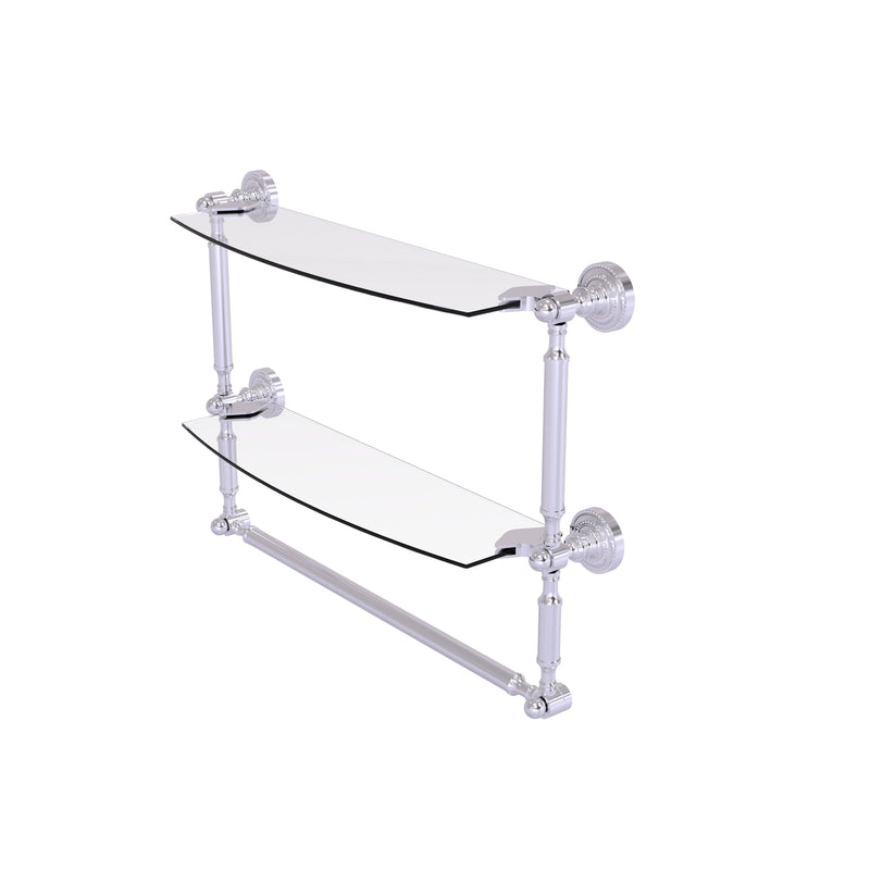 Allied Brass Dottingham Collection 18 Inch Two Tiered Glass Shelf with Integrated Towel Bar DT-34TB-18-SCH