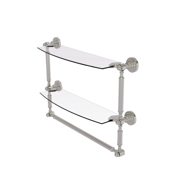 Allied Brass Dottingham Collection 18 Inch Two Tiered Glass Shelf with Integrated Towel Bar DT-34TB-18-SN