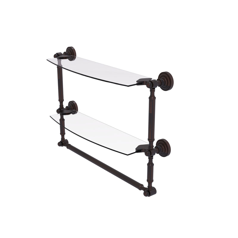 Allied Brass Dottingham Collection 18 Inch Two Tiered Glass Shelf with Integrated Towel Bar DT-34TB-18-VB