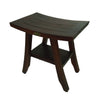 "DecoTeak Satori 18"" Eastern Styled Teak Shower Bench Stool With Shelf"