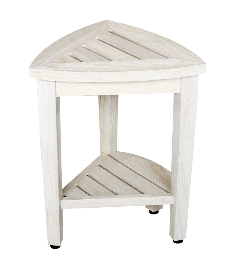 EcoDecor Coastal Vogue White Wash Oasis Compact Teak Corner Shower Bench With Shelf 18""
