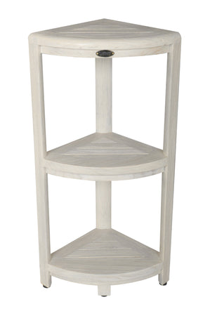 EcoDecor Coastal Vogue White Wash Oasis 3-Tier Teak Corner Shower Shelf 32