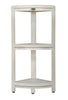 EcoDecor Coastal Vogue White Wash Oasis 3-Tier Teak Corner Shower Shelf 32""