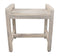 "EcoDecor Coastal Vogue White Wash Eleganto 20"" Teak Shower Stool With LiftAid Arms"