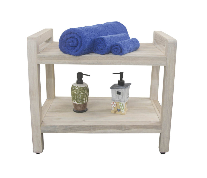 "EcoDecor Coastal Vogue White Wash Eleganto 24"" Teak Shower Stool With LiftAid Arms And Shelf"