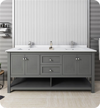 "Fresca Manchester Regal 72"" Gray Wood Veneer Traditional Double Sink Bathroom Cabinet with Top and Sinks"