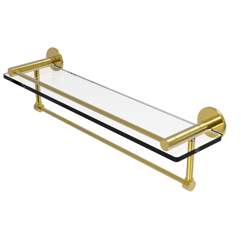 Allied Brass Fresno Collection 22 Inch Glass Shelf with Vanity Rail and Integrated Towel Bar FR-1-22GTB-PB