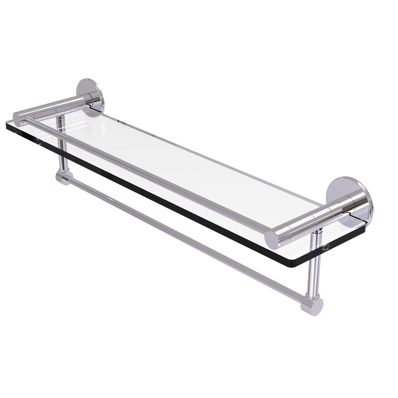 Allied Brass Fresno Collection 22 Inch Glass Shelf with Vanity Rail and Integrated Towel Bar FR-1-22GTB-PC