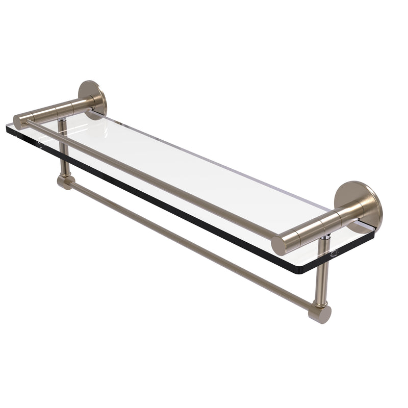 Allied Brass Fresno Collection 22 Inch Glass Shelf with Vanity Rail and Integrated Towel Bar FR-1-22GTB-PEW