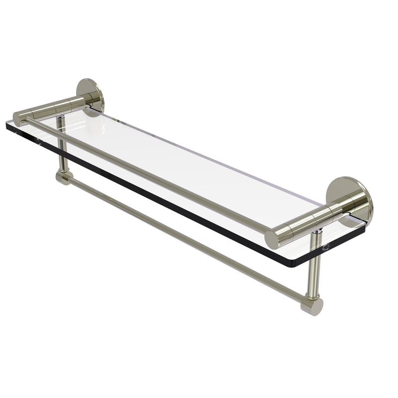 Allied Brass Fresno Collection 22 Inch Glass Shelf with Vanity Rail and Integrated Towel Bar FR-1-22GTB-PNI