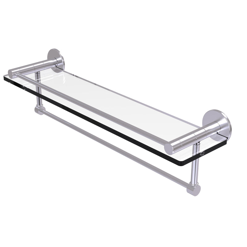 Allied Brass Fresno Collection 22 Inch Glass Shelf with Vanity Rail and Integrated Towel Bar FR-1-22GTB-SCH