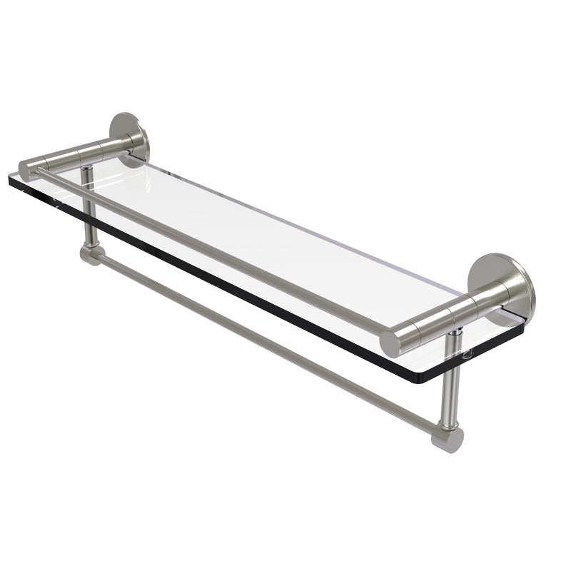 Allied Brass Fresno Collection 22 Inch Glass Shelf with Vanity Rail and Integrated Towel Bar FR-1-22GTB-SN
