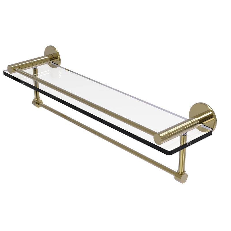 Allied Brass Fresno Collection 22 Inch Glass Shelf with Vanity Rail and Integrated Towel Bar FR-1-22GTB-UNL